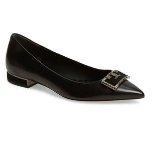 Tory Burch Crystal Logo Pointed Toe Flat size 7